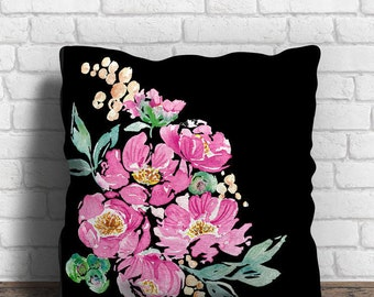 Black and Pink Decorative Pillow Cover - Peony Floral Cushion Cover, Hot Pink Pillow, Hand Painted Peony, Pink and Black Maximalist Decor