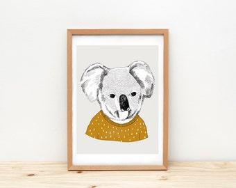 Koala art print, illustration by depeapa, koala drawing, koala wall art, A4, koala poster, modern nursery art, wall decor, kids room decor