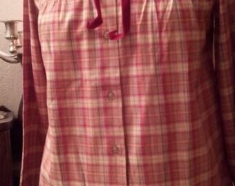 Vintage Plaid cotton long sleeve shirt