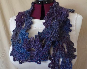 Blue Purple Crochet Queen Anne's Lace Long Skinny Scarf