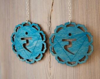 5th Chakra Earrings - Vishudda - Teal Throat Chakra Yoga Earrings - New Age Rainbow earrings  Chakra Earrings Yoga Earrings
