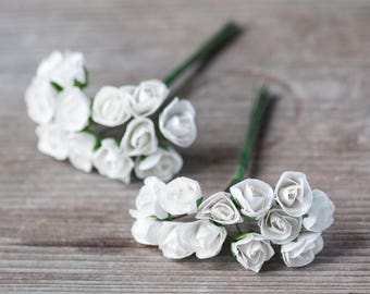 24 Miniature Rose Flowers Wedding Accessories Craft Supplies White Rose Flowers Boho Flowers Wedding Findings White Miniature Flowers