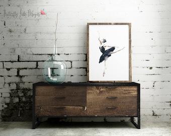 Ballerina Print    Dance Print   wall art   Ballet wall art   Home Decor   Black & Navy Ballerina