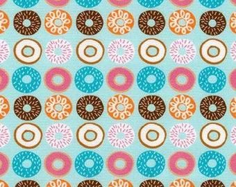 Suzy's Mini's, Mini Doughnuts on Blue cotton woven fabric