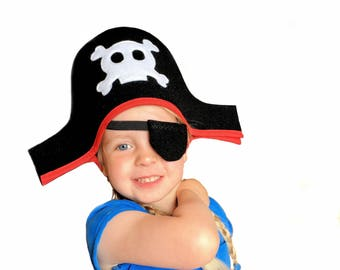 Children's Pirate Hat, Pirate Costume, Fancy Dress Pirate, Kid's Birthday Gift, Kid's Christmas Gift, Kid's Halloween Costume, Toddler Gift