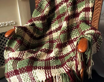 Crochet & Weave Pattern Offset Double Plaid Throw