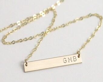Delicate Bar Necklace / Monogram Bar Necklace / Stamped Bar Necklace / Silver Name Necklace / Initial Gold Bar Necklace / Gift for Her ,