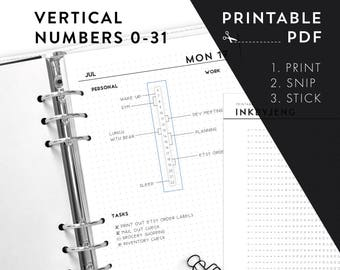 Printable PDF - Vertical Numbers 0-31 / time habit trackers time ladders | Fits 5mm Grid | Print & Stick | Printable Stickers for Planners