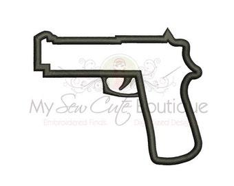 Gun Applique Design - Machine Embroidery Applique Design - 8 Sizes - Instant Download