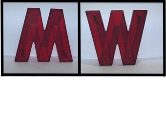 Vintage 50s Letter M / W, Movie Theater Marquee Letter, Mid Century Sign, Red Lucite Letter, Urban Industrial Initial, Art Deco Wall Hanging