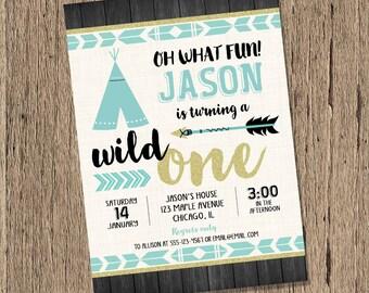 Wild one birthday invitation boy, Boys Wild 1 Birthday invite, first 1st birthday invitation, tribal arrows teepee, printable invitation