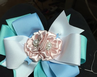Ice Blue color scheme Hair Bow with silk flower accents