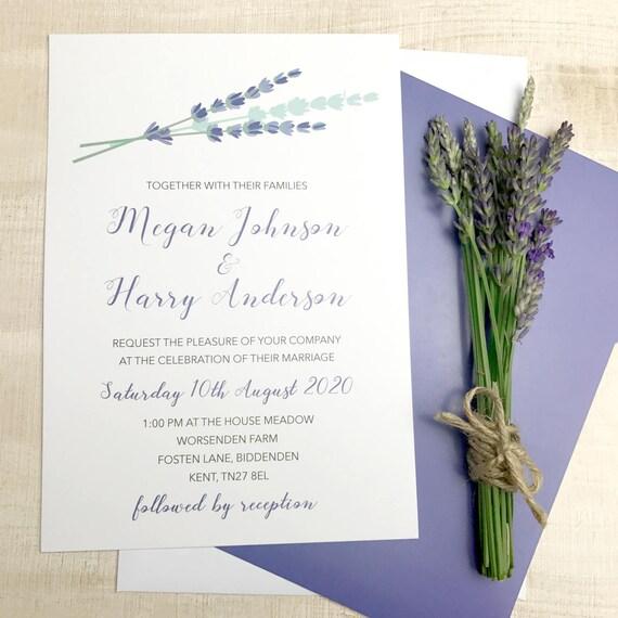 Boho herbal wedding invitation, Romantic floral wedding invitations, Country wedding invitation templates, Lavender wedding invitations