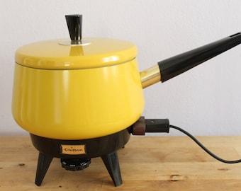 Vintage 1970's Yellow Chilton Electric Fondue Pot