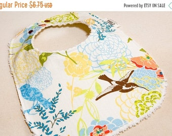 Spring Sale SummerSong - Infant or Toddler Bib - Terry Cloth Backing - Reversible with ADJUSTABLE Snaps
