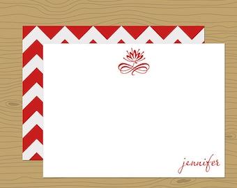 Poppy Red Linen Stationery Notes