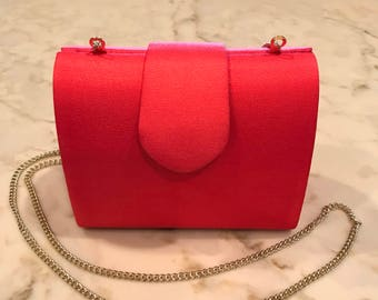 Red Clutch Purse Bag with Gold Chain Strap by Kf Ltd