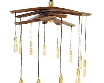 Lucciole, recyclé lustre de lumières portées 12 grand tonneau de vin