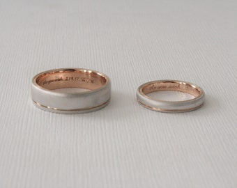 SET - 14K Two-tone White And Rose Gold Grooved Men's And Ladies Wedding Bands