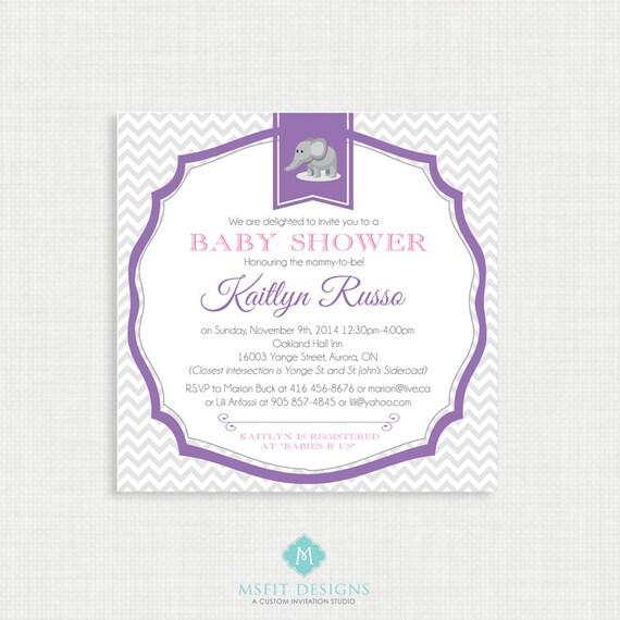 Printable Baby Shower Invitation- Girl Baby Shower Invitation, Chevron Gray and Pink, Digital, Printable Template DIY