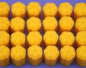 Set of 24 Flower Blossom Candles, 1.5 x 2 Pure Bees Wax Votive Candles, Beeswax Candle Votives, Wedding Candles, Dinner Party Candles