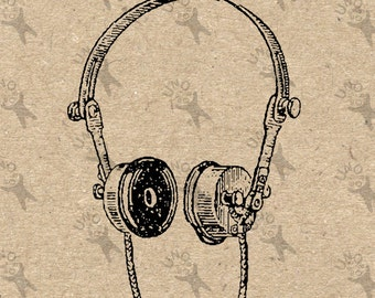 Vintage headphones Instant Download picture Digital printable clipart graphic for stickers, scrapbooking, t shirt, prints etc HQ 300dpi