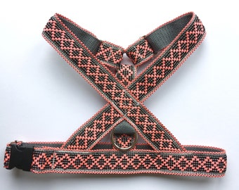 Black and pink dog harness: Woven no choke small - X Large dog harness with gray webbing. Adjustable
