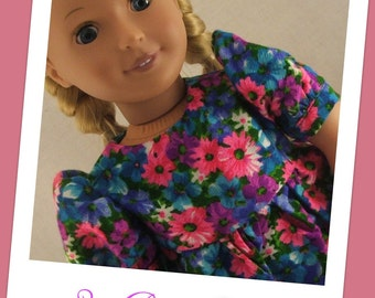 OOAK - Cheery colorful floral dress fits American Girl