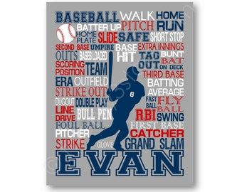 Baseball Typography Poster Print, Boy's Baseball Room Art, Baseball Team Gift, Baseball Art Print, Baseball Canvas Art, Baseball Coach Gift