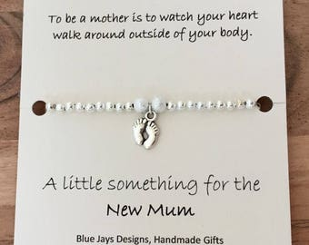 Baby Shower Gift, New Mum Jewellery, New Baby Gifts, Baby Feet Charm, Gift Under 10, Silver Bracelet, Mothers Day Gift, First Mothers Day