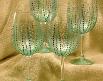 Set of 4 Aqua Hand Painted Wine Glasses.  Coastal Wine Glasses. Beach Wine Glasses