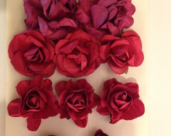 Paper Blooms; Cranberry Paper Flowers by Kaisercraft - Set of 10, Wine, Burgundy Flowers