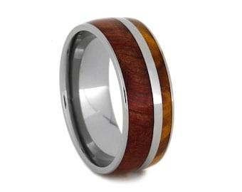 Ruby Redwood Ring With A Gold Box Elder Burl Stripe, Titanium Wedding Band, Wood Ring, Custom Made Jewelry