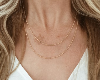 Double Strand Gold Beaded Chain Necklace in 14/20 Gold-fill