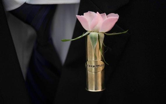 Personalized Shotgun Shell Lapel Pin Vase Personalized