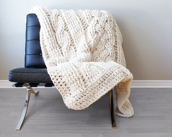 DIY Crochet PATTERN - Double Cable Crochet Throw Blanket (2014004): crochet, crochet pattern, crochet blanket, crochet cable, chunky crochet