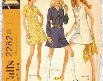 1970s McCalls 2282 Easy Pantdress & A-Line Button Front Dress Sewing Patterns, Juniors size 7 Vintage 70s mini dress miniskirt pattern Uncut