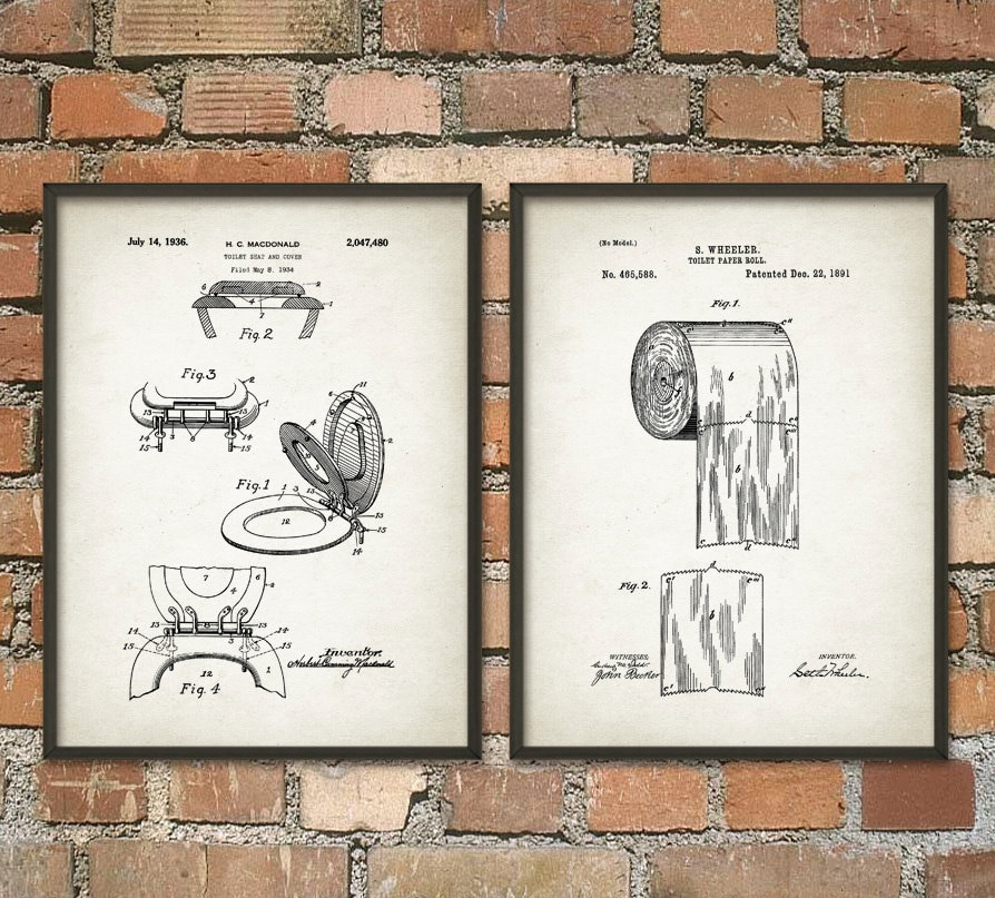 Toilet Roll Patents And Toilet Seat Patent Wall Art Poster Set