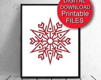 Christmas Printable Wall Art, Snowflake, A4 Holiday Art 5x7 8x10 11x14 16x20 A3