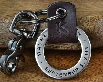 Anniversary Gift for Men, Boyfriend Gift, Fiance Gift, Save the Date Keychain - Mens Personalized Leather Keychain - Any text up to 35 Char