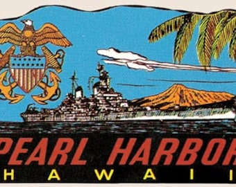 Vintage Style WW2 US Navy Pearl Harbor  Hawaii  Travel Decal sticker