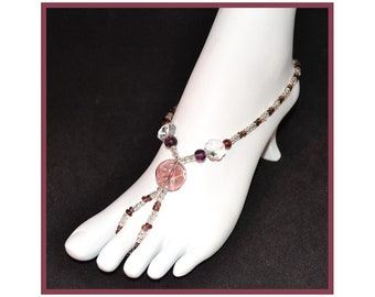 Barefoot Sandals Sz-8.5 Burgandy Wine Colored Glass Beads