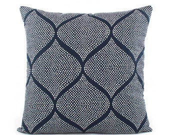Robert Allen Indigo and White Batik Pillow Cover, 18x18, 20x20, 22x22, 24x24 Euro or Lumbar, Navy Blue, Throw Pillow, Accent Pillow, Mocambo