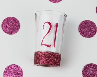 21st Birthday Shot Glass - Glitter Shot Glass - Birthday Shot Glass - 21st Birthday Gift for Her - Custom Shot Glass - Gifts Under 10