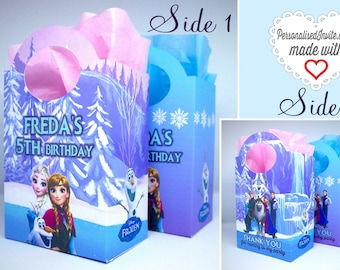 Personalised Disney Frozen Party Bags Favor Treat Goodie, sweets, Gift Boxes, Box. Princess Anna, Elsa, Olaf. PRICE PER BAG