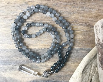 Grey Quartz and Hematite 108 Mala Beads with Sterling Silver Accents/ Knotted Yoga Necklace /Meditation Mala Beads, Buddhist Necklace