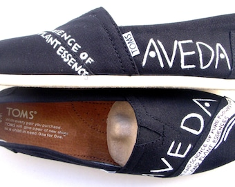 The Aveda - Black and White Custom TOMS