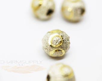 20 PCS White Enamel Gold Decorative Etched Round Bead