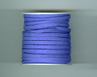 Blue Suede Cord, 3mm Blue Faux Suede Cord 3x1.5mm 5 Yards Mini Spool Jewelry Necklace Making Cord