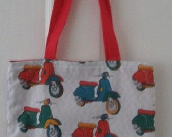 Scooter fabric bag/lunchbag/bags and purses/classic bike festivals/multi coloured scooters mods and rockers